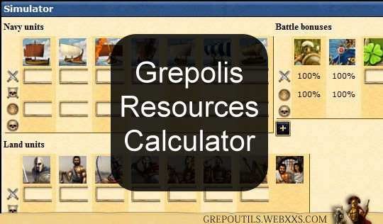 Grepolis, Script, Resources Calculator